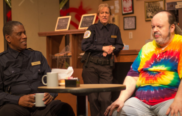 Dennis Jackson (Officer James Bailey), Ellie DeShon (Officer Randy Osteen), and Bill Pelletier (Arthur) in SUPERIOR DONUTS at Olathe Civic Theatre Association. Photo by Shelly Stewart Banks.