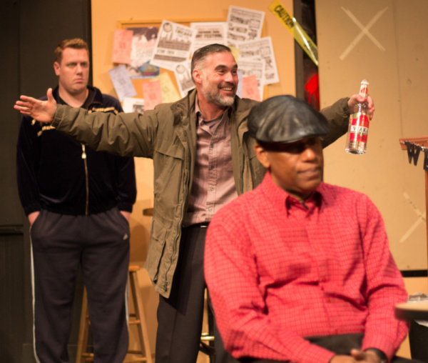 Dan Heinz (Kiril), Addison Parker (Max), and Dennis Jackson (Officer James Bailey) in SUPERIOR DONUTS at Olathe Civic Theatre Association. Photo by Shelly Stewart Banks.