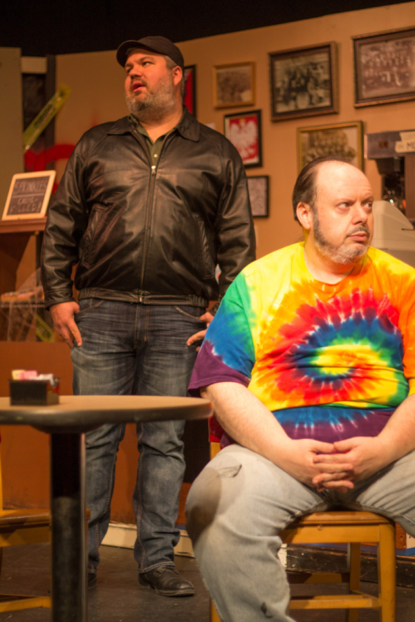 Michael Juncker (Luther) and Bill Pelletier (Arthur) in SUPERIOR DONUTS at Olathe Civic Theatre Association. Photo by Shelly Stewart Banks.