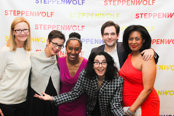 Joan Allen, Steppenwolf Artistic Director Anna D. Shapiro, Celeste M. Cooper, playwright Matthew-Lee Erlbach, Ora Jones, and (in front) director Tina Landau