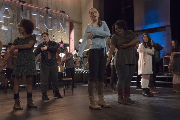 """RISE -- """"This Will God Willing Get Better"""" Episode 107 - Pictured: (l-r) Rachel Hilson as Harmony Curtis, Ellie Desautels as Michael Hallowell, Amy Forsyth as Gwen Strickland, Tiffany Mann as Cheryl, Auli'i Cravalho as Lilette Suarez, Alexis Molnar as Lex"""