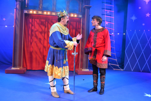 Donald Pauselius as Charlemagne and Greg Gwyn as Pippin share a father-son moment in  Photo