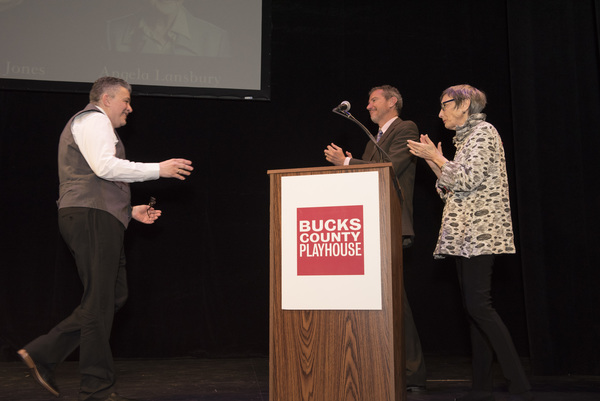 Lou Volpe comes to stage to accept award from Alexander Fraser and Robyn Goodman Photo