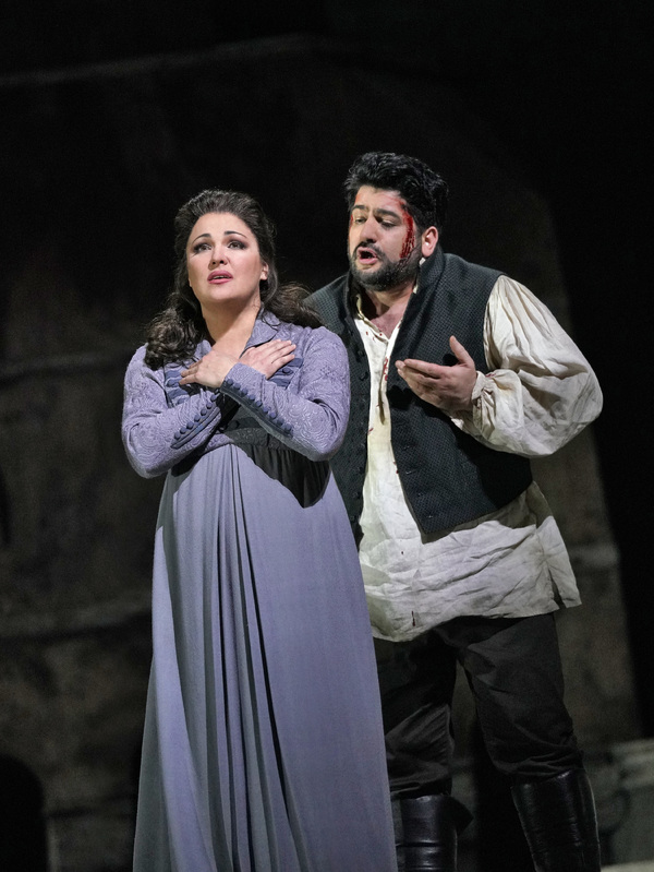 "Anna Netrebko in the title role and Yusif Eyvazov as Cavaradossi in Puccini's ""Tosca. Photo"