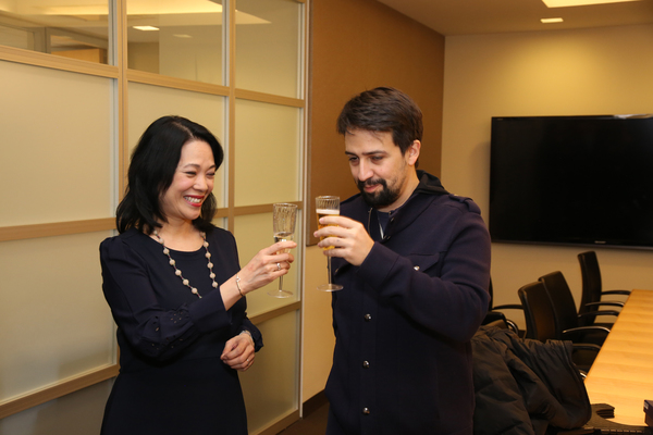 Presenter and Actors Equity EEO Committee Chair Christine Toy Johnson toasts Lin-Manuel Miranda