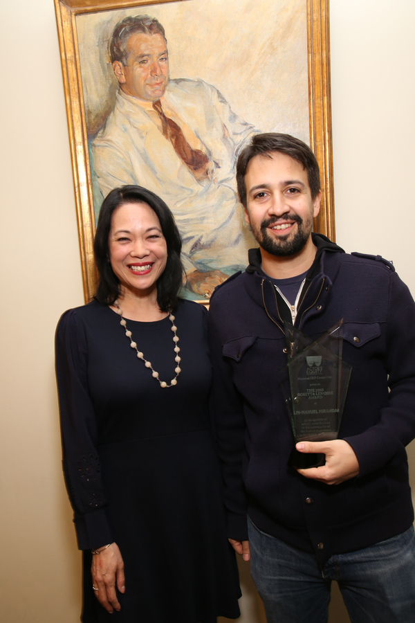 Presenter and Actors Equity EEO Committee Chair Christine Toy Johnson with Lin-Manuel Miranda