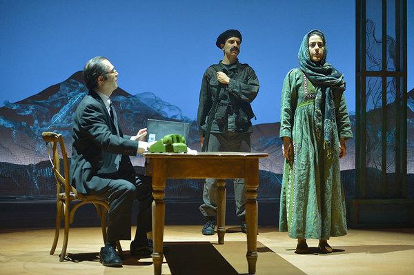 Haysam Kadri as Rasheed, Kate Rigg as Mariam, and Nadine Malouf as Laila