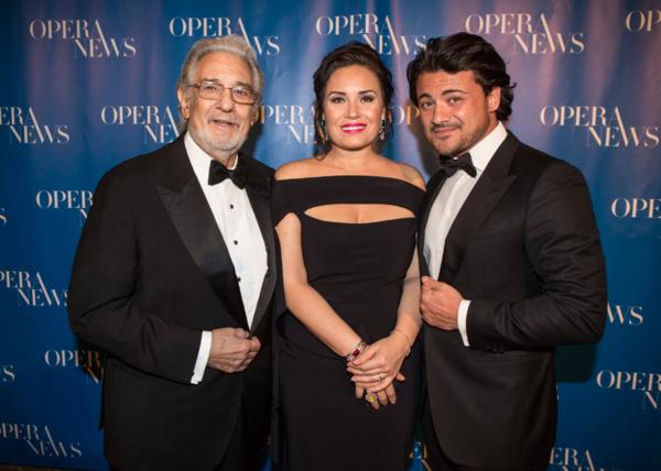 Presenter  Plácido  Domingo  with  honorees  Sonya  Yoncheva  and  Vittorio  Grigolo