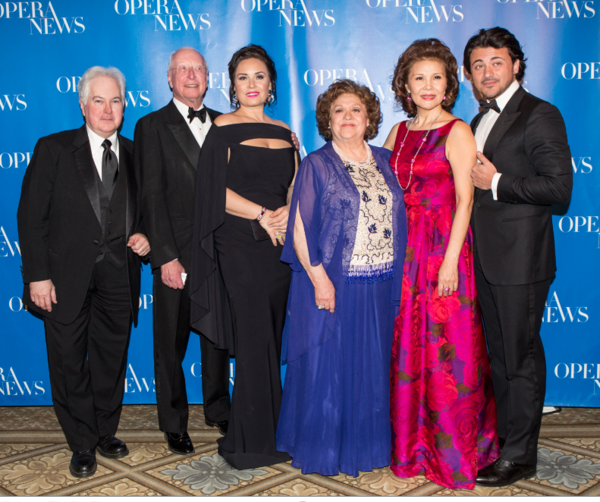 OPERA  NEWS  Editor  in  Chief  F.  Paul  Driscoll  with  honorees  William  Christie,  Sonya  Yoncheva,  Fiorenza  Cossotto,  Hei-Kyung  Hong  and  Vittorio  Grigolo