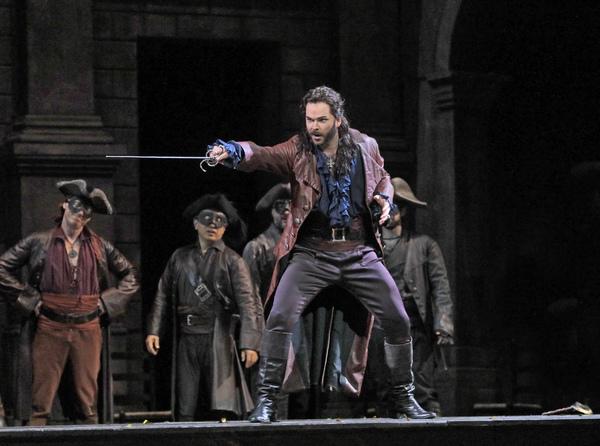 Joshua Hopkins as Mercutio in Gounod's Roméo et Juliette. Photo by Ken Howard / Met Opera