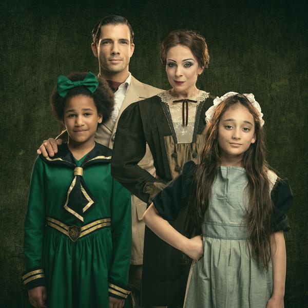 Danny Mac as Captain Crewe and Amanda Abbington as Miss Minchin  withy 2 young co-stars