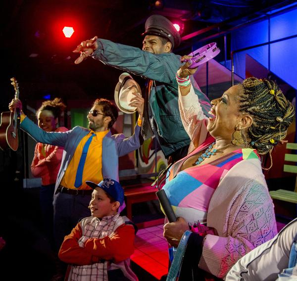 (from left) Kirra Silver, Jesse Bhamrah, Alejandro Medina (as CJ, kneeling), Breon Arzell and E. Faye Butler (as Nana) in Chicago Children's Theatre's world premiere of Last Stop on Market Street. Adapted from Matt de la Peña's Newbery winning and