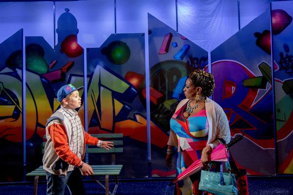 (from left) Alejandro Medina plays CJ and E. Faye Butler is Nana in Chicago Children's Theatre's world premiere of Last Stop on Market Street. Adapted from Matt de la Peña's Newbery winning and Caldecott-honored book, Last Stop on Market Street is