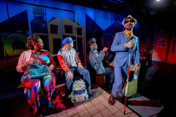 Get on the bus with (from left) E. Faye Butler as Nana, Alejandro Medina as CJ, Breon Arzell as Mr. Dennis the bus driver and Jesse Bhamrah as Blind Man in Chicago Children's Theatre's world premiere of Last Stop on Market Street. Adapted from Matt de