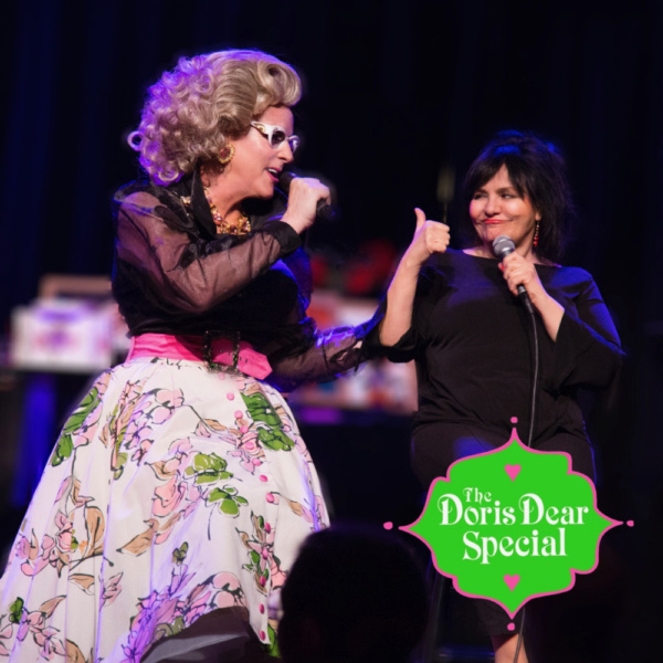 Lina Koutrakos gives a big thumbs up at The Doris Dear Special: Like Mother Like Daughter on April 20th at The Triad Theater