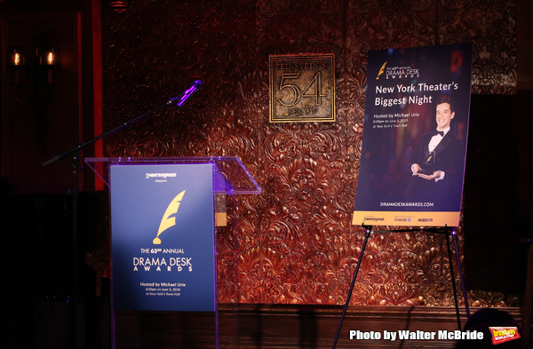 Tituss Burgess and Jane Krakowski attend the 2018 Drama Desk Awards Nominations announced at Feinstein's/54 Below on April 26, 2018 in New York City.