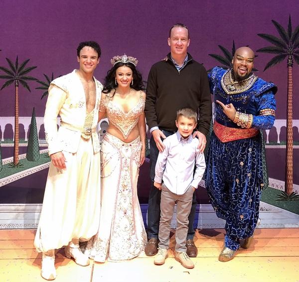 Clinton Greenspan (Aladdin), Isabelle McCalla (Jasmine), Peyton Manning, Michael James Scott (Genie)