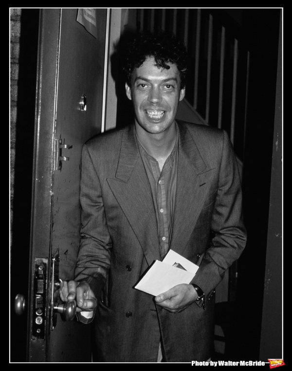 Tim Curry, starring in AMADEUS, leaving the stage door of the Broadhurst Theatre  in New York City on July 3, 1982.