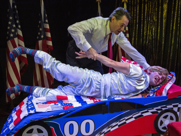 Trump tries to toughen up Barron. Ezra Barnes as Donald Trump & Wyatt Fenner as Barron. Photo by Joseph Henry Ritter.