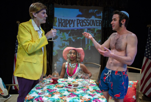 Passover at Mar-a-Lago. Ezra Barnes as Donald Trump, Latonia Phipps as Ivanka & Wyatt Fenner as Jared. Photo by Joseph Henry Ritter.