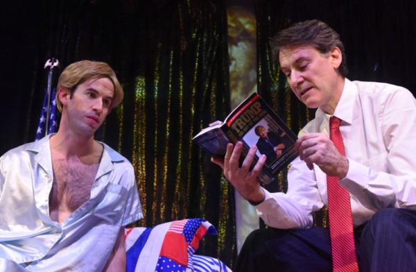 Trump reads Barron his favorite bedtime story. Ezra Barnes as Donald Trump & Wyatt Fenner as Barron. Photo by Francis Krow.