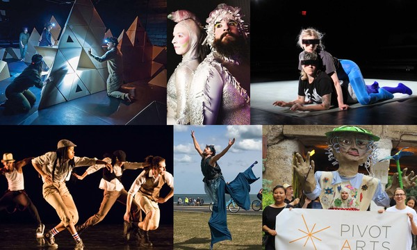 The 2018 Pivot Art Festival will include (top, l to r) Rude Mechs, The? Unicorn? Hour?, Shannon Stewart (bottom, l to r) BraveSoul Movement, Walkabout Theater and the Celebrate Community! Parade