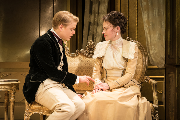 Freddie Fox as Lord Goring, Sally Bretton as Lady Chiltern