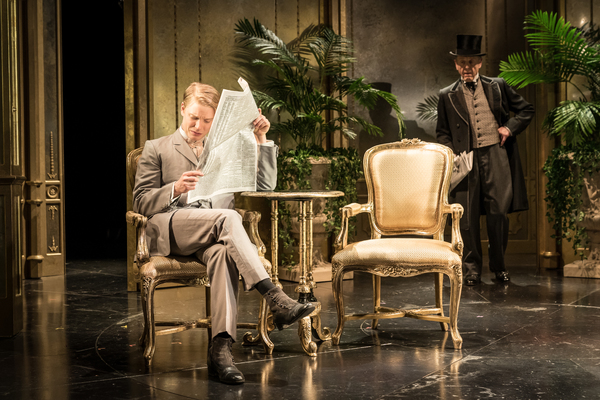 Freddie Fox as Lord Goring, Edward Fox as Lord Caversham Photo