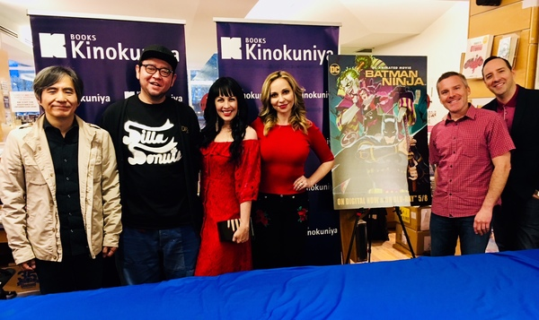 Screenwriter Kazuki Nakashima and character designer Takashi Okazaki with voice actors Grey Griffin, Tara Strong, Roger Craig Smith and Tony Hale at Kinokuniya.