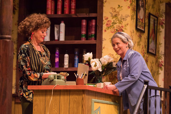Brigitt Markusfeld (Truvy) and Eve Plumb (Clairee) in Geva Theatre Center's production of STEEL MAGNOLIAS. Photo by Goat Factory Media Entertainment.