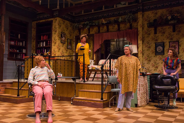 Brigitt Markusfeld (Truvy), Anna Crivelli (Shelby), Eve Plumb (Clairee) and Becca Ballenger (Annelle) in Geva Theatre Center's production of STEEL MAGNOLIAS. Photo by Goat Factory Media Entertainment.