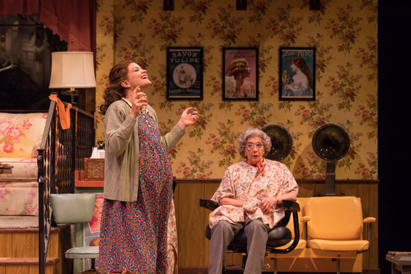 Becca Ballenger (Annelle) and Sandra Shipley (Ouiser) in Geva Theatre Center's production of STEEL MAGNOLIAS. Photo by Goat Factory Media Entertainment.