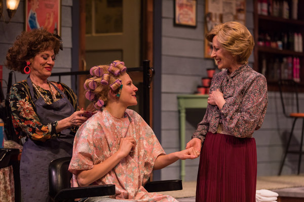 Brigitt Markusfeld (Truvy), Anna Crivelli (Shelby) and Elizabeth Ward Land (M'Lynn) in Geva Theatre Center's production of STEEL MAGNOLIAS. Photo by Goat Factory Media Entertainment.