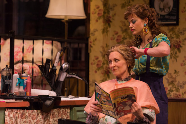 Elizabeth Ward Land (M'Lynn) and Becca Ballenger (Annelle) in Geva Theatre Center's production of STEEL MAGNOLIAS. Photo by Goat Factory Media Entertainment.