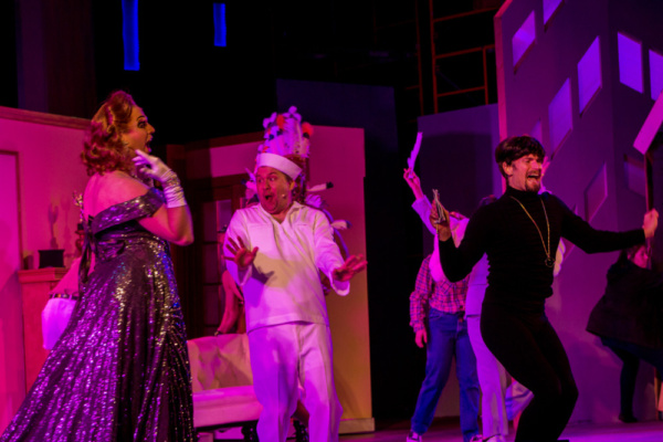 Scott Daniel as Roger, Tyler Fish as Sailor, and Alex Ringler as Carmen Ghia with the cast of the The Producers