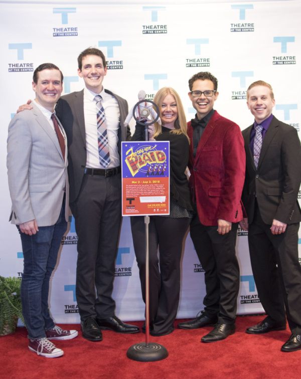 Director Brenda Didier (center) and cast members Matt Edmonds, and Adam LaSalle, Yando Lopez and Christopher Ratliff at the Opening Night of Forever Plaid at Theatre at the Center in Munster.