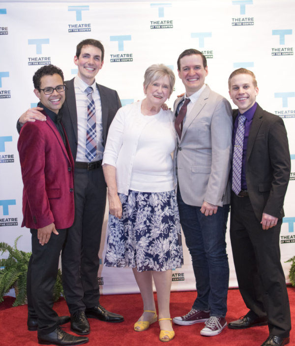 Sponsor Pat Binkley (center) with cast members Yando Lopez, Adam LaSalle, Matt Edmonds and Christopher Ratliff at the Opening Night of Forever Plaid at Theatre at the Center in Munster.