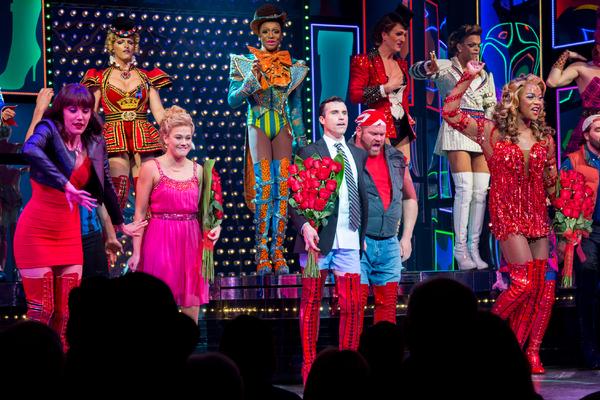Caroline Bowman, Carrie St. Louis, Tyler Glenn, J. Harrison Ghee, and the cast of KINKY BOOTS