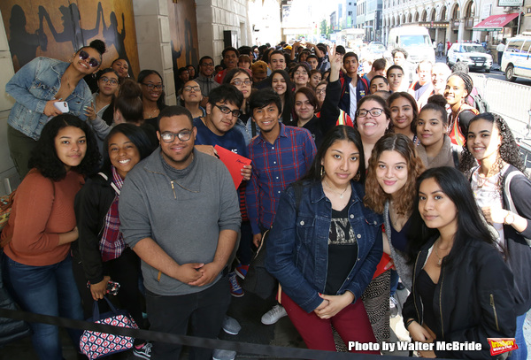 "High School Students before The Rockefeller Foundation and The Gilder Lehrman Institute of American History sponsored High School student #eduHam matinee performance of ""Hamilton"" at the Richard Rodgers Theatre on May 9, 2018 in New York City."