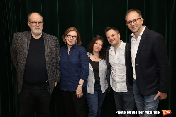 The creative team of The Royal Family of Broadway: composer William Finn, artistic director Julianne Boyd, book writer Rachel Sheinkin, musical director Vadim Feitchner, and director John Rando