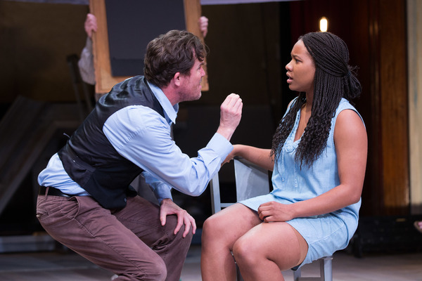 Robert de Baudricourt (Eric Tucker) tries in vain to put the peasant girl, Joan (Dria Brown) in her rightful place