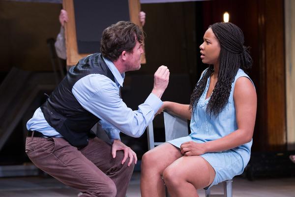 Robert de Baudricourt (Eric Tucker) tries in vain to put the peasant girl, Joan (Dria Photo