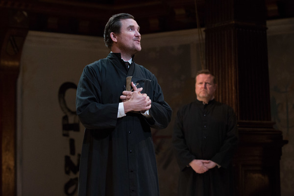 Brother John Lemaitre, the Inquisitor (Eric Tucker) and John de Stomgumber (Edmund Lewis) await the trial of Joan