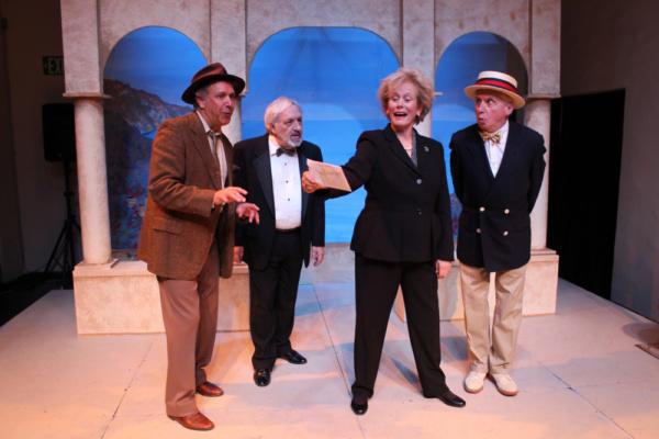 Gary Lamb as Sir Toby Belch, Barry Gordon as Feste, Mary Chalon as Maria, Lance Davis Photo