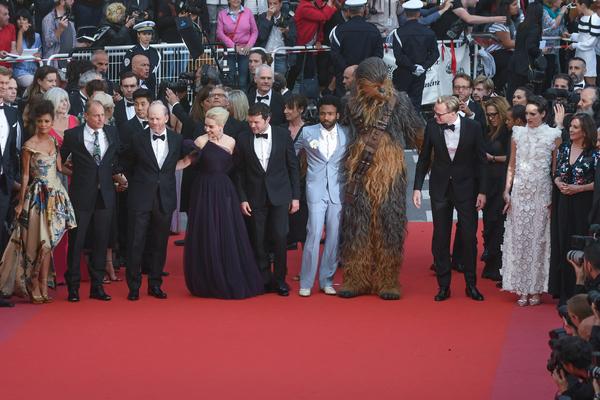 Thandie Newton, Woody Harrelson, Ron Howard, Emilia Clarke, actor Alden Ehrenreich, actor Donald Glover, Chewbacca, Paul Bettany and Phoebe Waller-Bridge