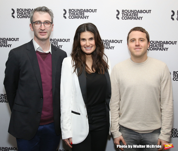 """Director Daniel Aukin, Idina Menzel andplaywright Joshua Harmon attends the Cast Photo Call for The Roundabout Theatre Company production of """"Skintight"""" at the American Airlines Theatre on May 16, 2018 in New York City."""