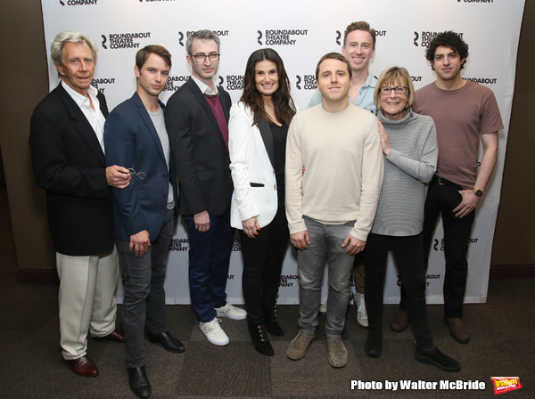 The Skintight team:  Jack Wetherall, Will Brittain, director Daniel Aukin, Idina Menzel, playwright Joshua Harmon, Stephen Carrasco, Cynthia Mace, and Eli Gelb