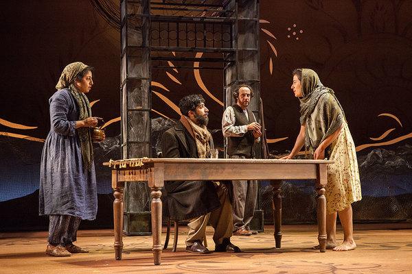 (from left) Denmo Ibrahim as Mariam, Jason Kapoor as Abdul Sharif, Haysam Kadri as Rasheed, and Nadine Malouf as Laila