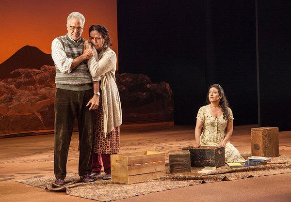 (from left) Joseph Kamal as Babi, Lanna Joffrey as Fariba, and Nadine Malouf as Laila