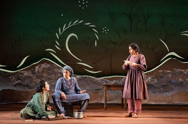 (from left) Nadine Malouf as Laila, Denmo Ibrahim as Mariam, and Nikita Tewani as Aziza